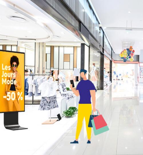 utilisateur wifi au centre commercial