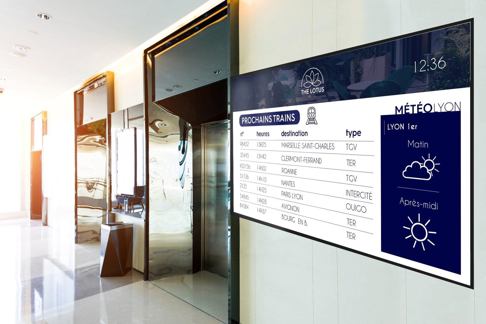 affichage dynamique hôtel