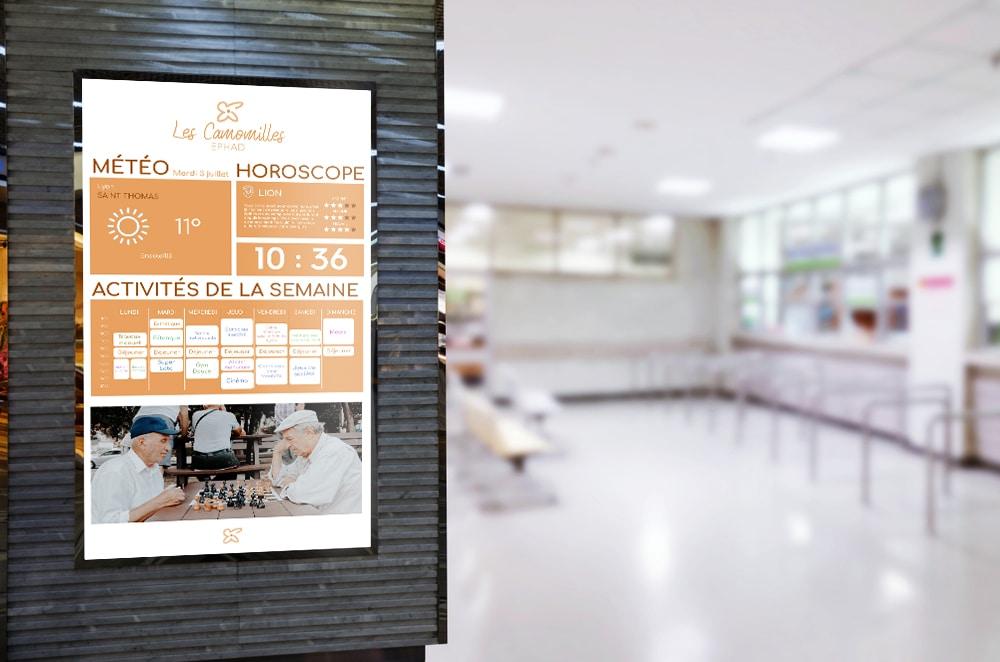 affichage dynamique à l'hôpital